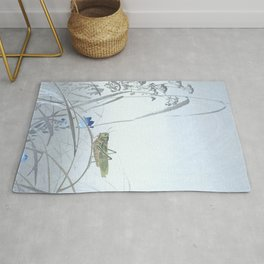 Grasshopper and the Blue Flowers - Vintage Japanese Woodblock Print Art Rug