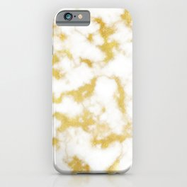 Glitzy Gold Veins on Creamy, Marshmallow Marble iPhone Case