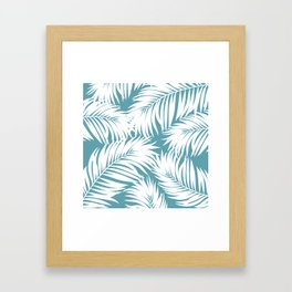 Palm Tree Fronds White on Soft Blue Hawaii Tropical Décor Framed Art Print