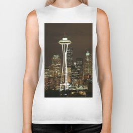 Seattle Space Needle at Night - City Lights Biker Tank