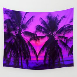 Pink Palm Trees by the Indian Ocean Wall Tapestry