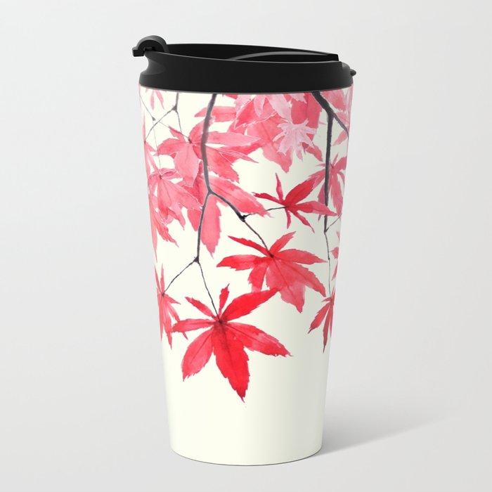 red maple leaves watercolor painting Metal Travel Mug