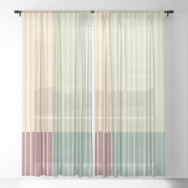 Color Block Line Abstract XIX Sheer Curtain