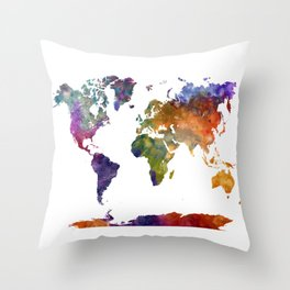 World map in watercolor 26 Throw Pillow