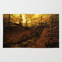 denmark Area & Throw Rugs featuring Forest Haslev, Denmark - Autumn by by Henrik Wulff Petersen (zoomphoto)