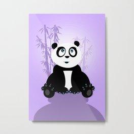 Panda Girl - Purple Metal Print