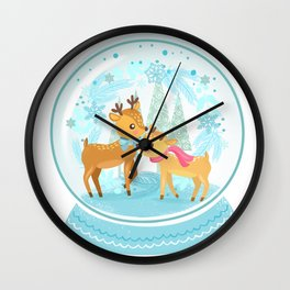 Winter Wonderland Reindeer Snow Globe Wall Clock
