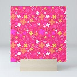 Pink flowers pattern Mini Art Print