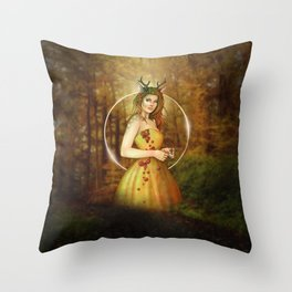 Autumn Woodland Fairy Throw Pillow