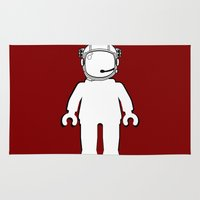 banksy Area & Throw Rugs featuring BANKSY STYLE ASTRONAUT MINIFIG by Chillee Wilson by Chillee Wilson [Customize My Minifig]