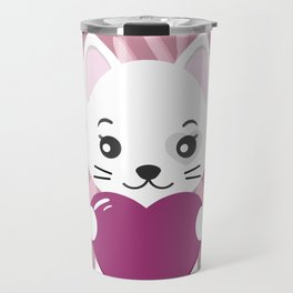 Valentine's day illustration. White cat with a heart. Travel Mug