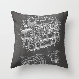 Airplane Jet Engine Patent - Airline Engine Art - Black Chalkboard Throw Pillow