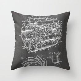 Airplane Jet Engine Patent - Airline Engine Art - Black Chalkboard Throw Pillow