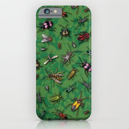 Bugs & Insects on Green Floral Background iPhone Case