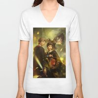 merlin V-neck T-shirts featuring BBC Merlin: Emrys Ascending  by mushroomtale