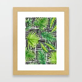 Tropical Leaves Watercolor on Black and White Pattern Framed Art Print