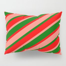 Dark Green, Red, and Salmon Colored Striped Pattern Pillow Sham