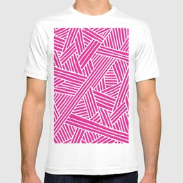 Abstract pink & white Lines and Triangles Pattern - Mix and Match with Simplicity of Life T-shirt