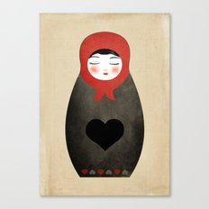 Matryoshka paperdoll Heart Canvas Print