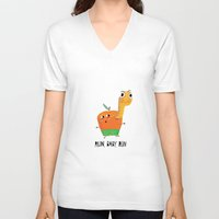 run V-neck T-shirts featuring run by angry bean