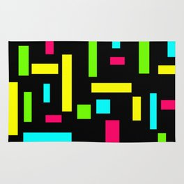 Abstract Theo van Doesburg Composition Neon on Black Rug