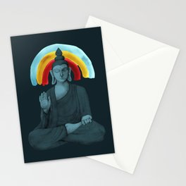 Buddha with rainbow - dark Stationery Cards