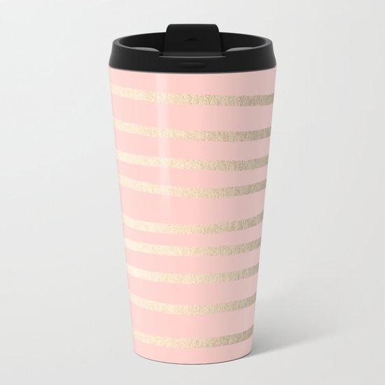Abstract Drawn Stripes Gold Coral Light Pink Metal Travel Mug