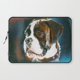 Boxer Dog Portrait  Watercolor Digital Art Laptop Sleeve
