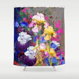 PINK-YELLOW PURPLE IRIS GARDEN GREY ART Shower Curtain