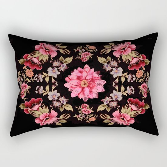 pink folk floral on black background Rectangular Pillow
