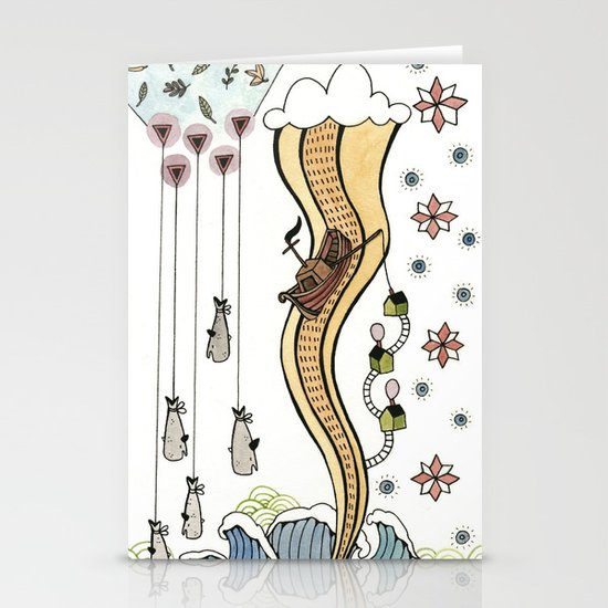 Hanging Whales Stationery Cards
