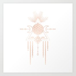 Mandala Flower of Life Moon Pink Rose Gold Art Print