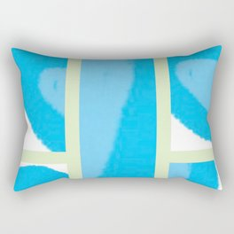 Expressive Windows of Blue and Green Rectangular Pillow