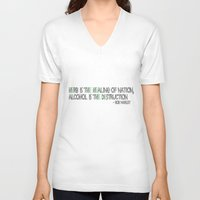 alcohol V-neck T-shirts featuring HERBS AND ALCOHOL by Jodie's