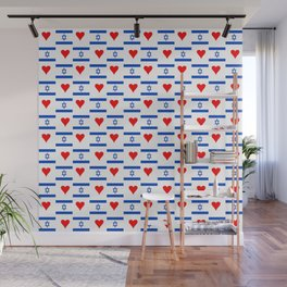 flag of israel 14- יִשְׂרָאֵל ,israeli,Herzl,Jerusalem,Hebrew,Judaism,jew,David,Salomon. Wall Mural