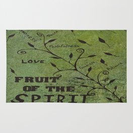 Faith Religious Art---Fruit of the Spirit---Bible Scripture Galations 5:22 by Saribelle rodriguez Rug