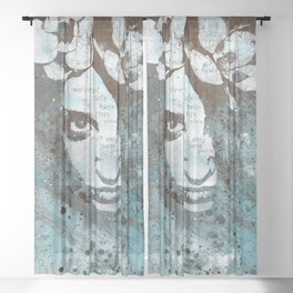 Blue Hypothermia (flower woman graffiti painting) Sheer Curtain