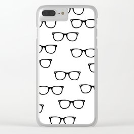 I See // Hipster Glasses Pattern Clear iPhone Case