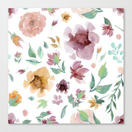 Seamless Floral Pattern White Background Canvas Print