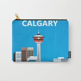 Calgary, Alberta, Canada - Skyline Illustration by Loose Petals Carry-All Pouch