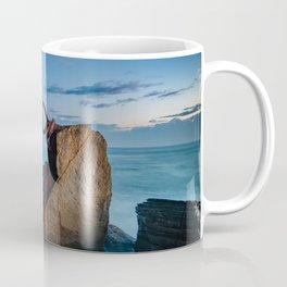 sunrise at the beach, san Sebastian donostia sculpture Coffee Mug