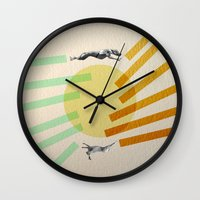greyhound Wall Clocks featuring Greyhound Round by Uzair Choughtai