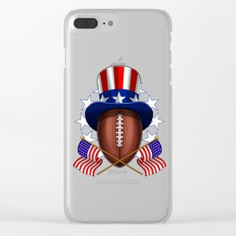 American Football on 4th Of July Clear iPhone Case