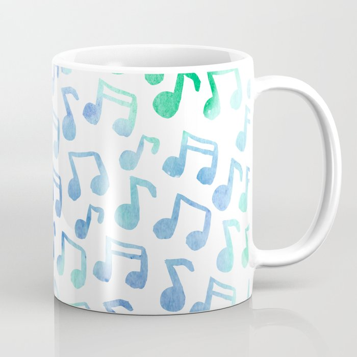 Playin' the Blues Watercolor Music Notes Pattern Coffee Mug
