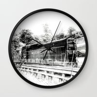 train Wall Clocks featuring Train by Geni