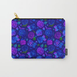 Watercolor Floral Garden in Electric Blue Bonnet Carry-All Pouch