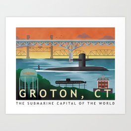 Groton, CT - Retro Submarine Travel Poster Art Print