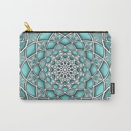 12-Fold Mandala Flower in Turquoise Carry-All Pouch