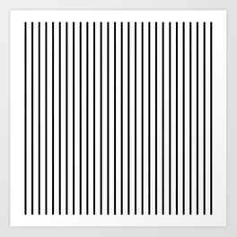 Black Pinstripe On White Pattern Art Print