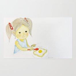 Girl with Egg Breakfast Rug
